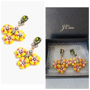 J. CREW FUN FLORAL AND CRYSTAL EARRINGS